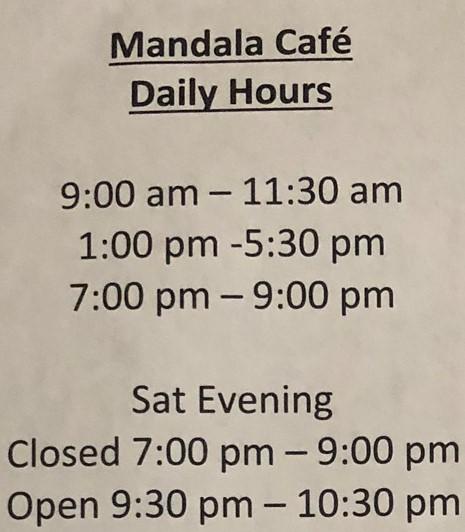 Mandala Cafe Hours